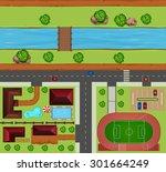 top view of neighborhood with... | Shutterstock .eps vector #301664249