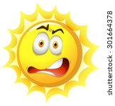 bright sun with shocking face | Shutterstock .eps vector #301664378