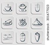 restaurant menu silhouettes.... | Shutterstock . vector #301677023