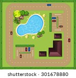 aerial view of luxurious house... | Shutterstock .eps vector #301678880