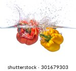 two  bell chillies in water ...   Shutterstock . vector #301679303