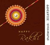 beautiful floral rakhi on brown ... | Shutterstock .eps vector #301693499