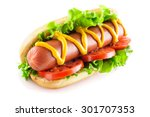 Stock photo hotdog with big sausage and fresh tomato isolated on white 301707353