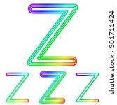 rainbow line z logo design set