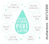 reasons to drink more water.... | Shutterstock .eps vector #301715300