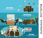 recruitment flat banner set... | Shutterstock .eps vector #301718768