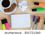 notepad and colorful markers on ... | Shutterstock . vector #301721360