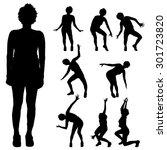 black silhouette of woman on... | Shutterstock .eps vector #301723820
