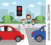 crossing the road. red light.... | Shutterstock .eps vector #301724444