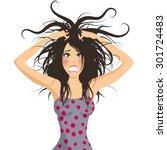 stressed girl | Shutterstock .eps vector #301724483