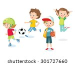 teenagers and sport | Shutterstock .eps vector #301727660