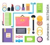 stuff from women's handbags.... | Shutterstock .eps vector #301736354