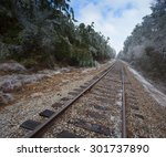 railroad line that is winding... | Shutterstock . vector #301737890