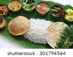 meals served on banana leaf ...   Shutterstock . vector #301796564