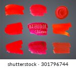 bright paint strokes vector red ... | Shutterstock .eps vector #301796744