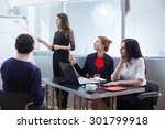 a group of businessmen in a... | Shutterstock . vector #301799918