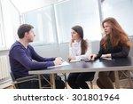 three businessmen discussing... | Shutterstock . vector #301801964