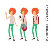 set of three different... | Shutterstock .eps vector #301803578