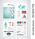 medical brochure template with... | Shutterstock .eps vector #301806758