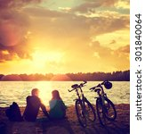romantic couple with bikes... | Shutterstock . vector #301840064
