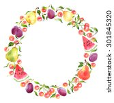 watercolor wreath with cherry ... | Shutterstock . vector #301845320