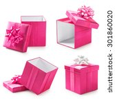 Pink Gift Boxes With Ribbon Bo...
