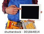 manual worker man with tablet... | Shutterstock . vector #301864814