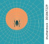 spider in a web on a background ... | Shutterstock .eps vector #301867229