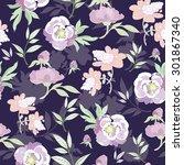 vector pastel kimono flowers on ... | Shutterstock .eps vector #301867340