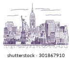 new york vector drawing | Shutterstock .eps vector #301867910