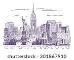 new york vector drawing   Shutterstock .eps vector #301867910