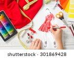 fashion designer working in... | Shutterstock . vector #301869428