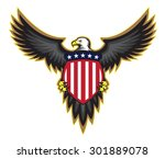 patriotic american bald eagle ...   Shutterstock .eps vector #301889078