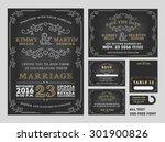 vintage chalkboard wedding... | Shutterstock .eps vector #301900826
