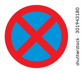 prohibitory sign. no stopping... | Shutterstock .eps vector #301943180