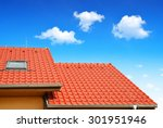 roof house with tiled roof on... | Shutterstock . vector #301951946
