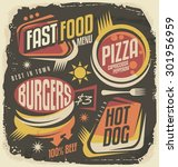 fast food restaurant menu... | Shutterstock .eps vector #301956959