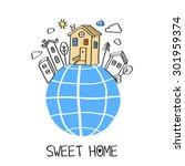 sweet home.  vector abstract... | Shutterstock .eps vector #301959374