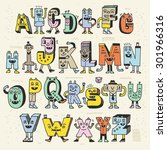 fantastic funny alphabet. wacky ... | Shutterstock .eps vector #301966316
