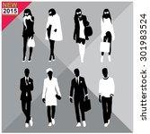 set of men and women black... | Shutterstock .eps vector #301983524