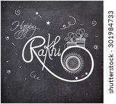 stylish text happy rakhi drawn... | Shutterstock .eps vector #301984733