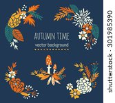 autumn flowers and fall. design ... | Shutterstock .eps vector #301985390