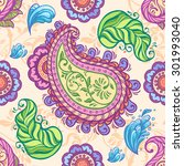 paisley seamless pattern.... | Shutterstock .eps vector #301993040