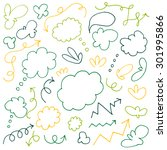 hand drawn arrows and clouds  | Shutterstock .eps vector #301995866