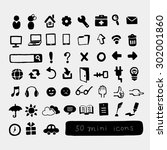 fifty mini icons | Shutterstock .eps vector #302001860