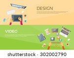 video editor workplace hands... | Shutterstock .eps vector #302002790