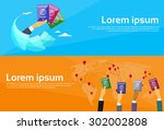 passport icon hand travel... | Shutterstock .eps vector #302002808