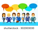 business cartoon people group... | Shutterstock .eps vector #302003030