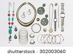 set of various silver jewelry ... | Shutterstock . vector #302003060