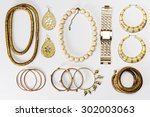 woman accessories gold and... | Shutterstock . vector #302003063